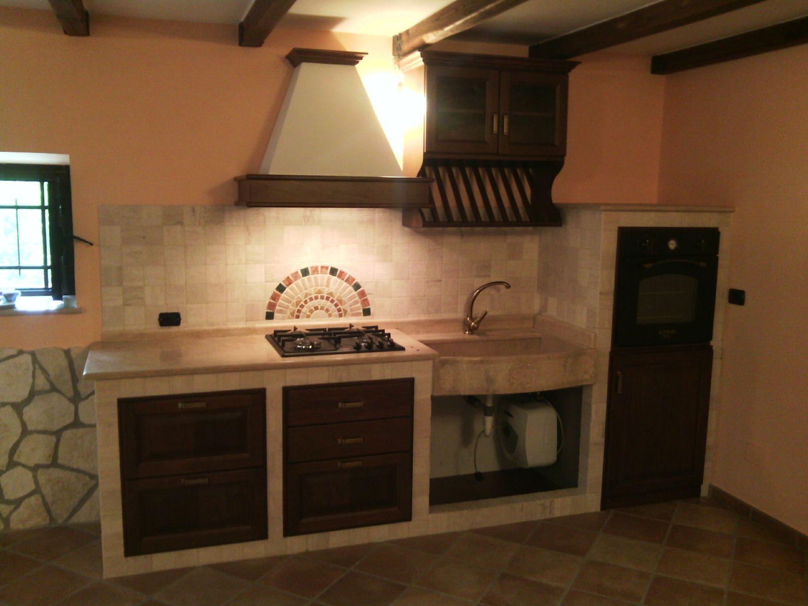 Cucina in muratura noce - Cucine in mansarda ...